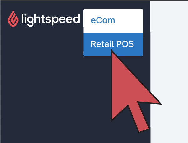 Shows the product switcher with an arrow pointing to Retail.