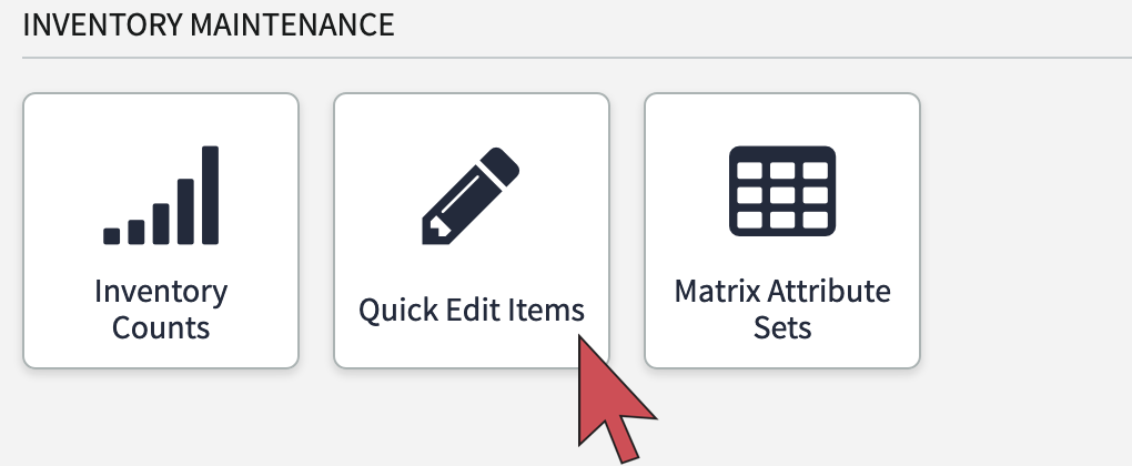Shows an arrow pointing to the Quick Edit Items button
