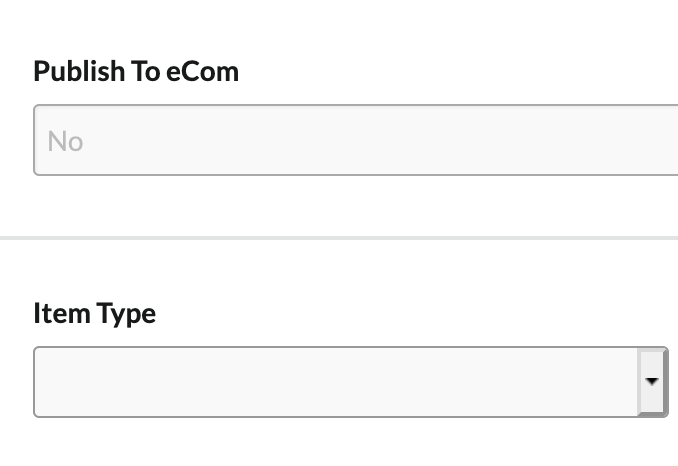 Shows the field showing 'publish to eCom' is the only one marked as 'No'.