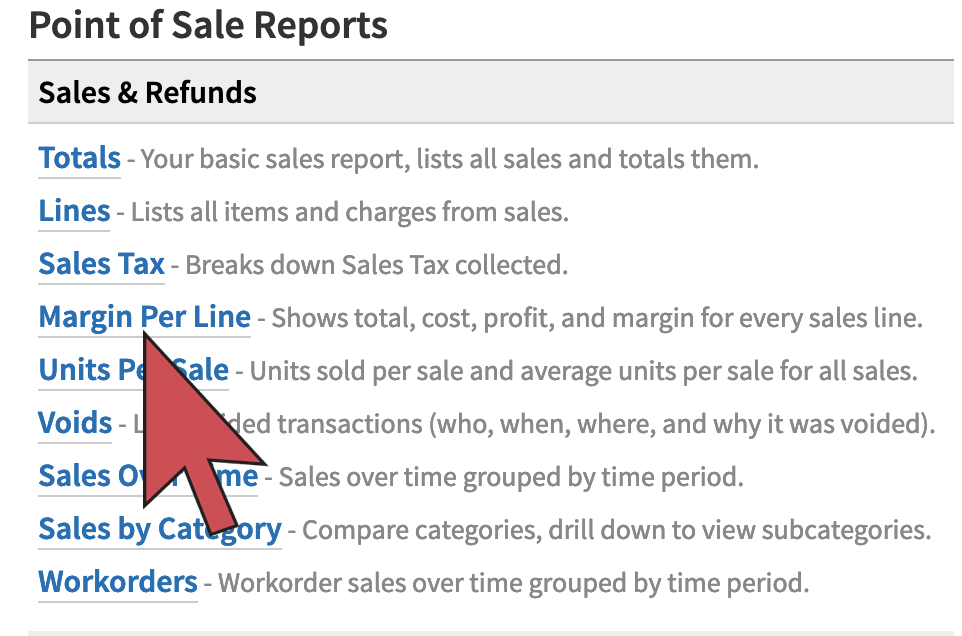Shows an arrow hovering over the 4th link in the list of reports.
