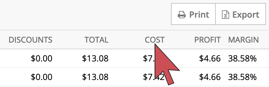 Shows an arrow hovering over the 'cost' column header, third column from the right.