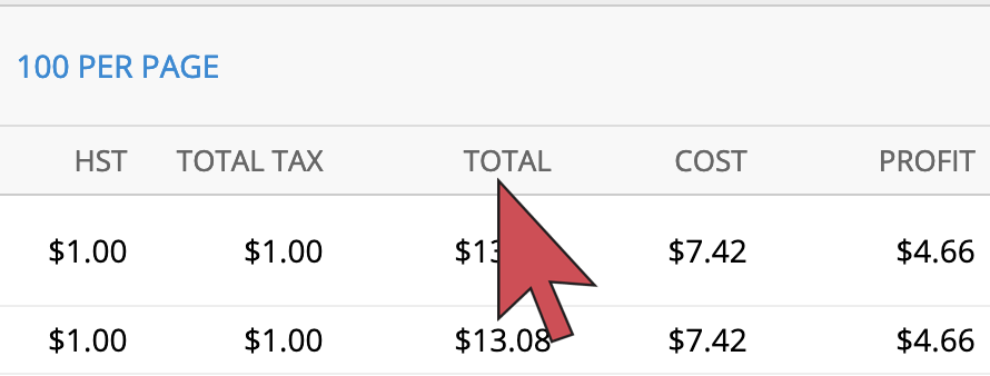 Shows an arrow hovering over the Totals column header.