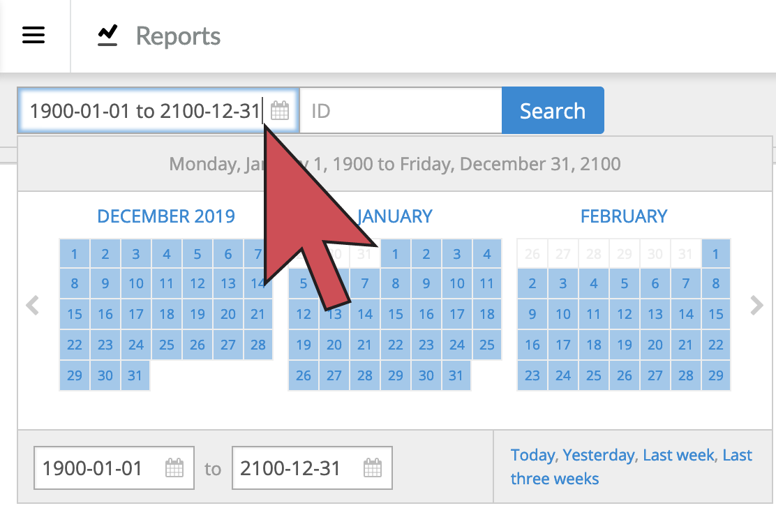 Shows an arrow hovering over the date range box, first field at the top of all reports.