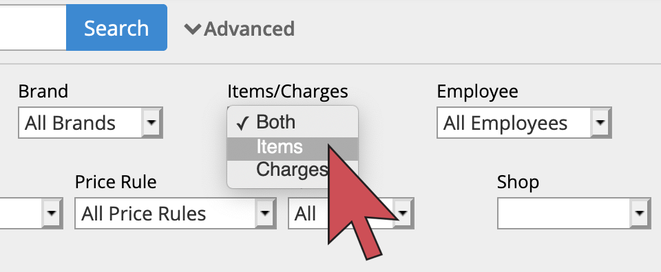 Shows an arrow hovering over the 'Items' option in the Items/charges dropdown list.