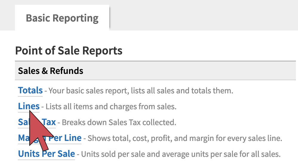 Shows an arrow hovering over the Lines report link, 2nd option from the top of the list of reports.