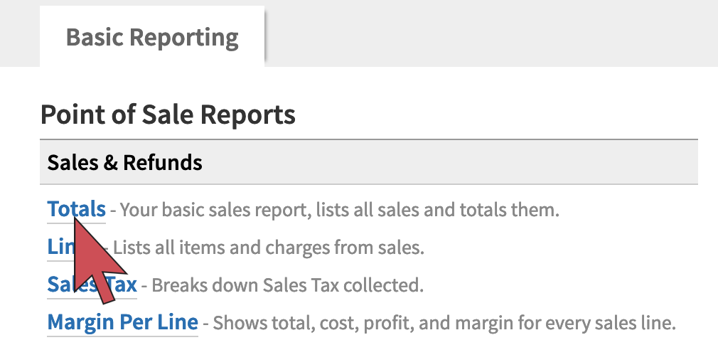 Shows an arrow hovering over the Totals report link, first report on the page.