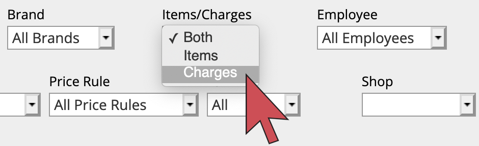 Shows an arrow hovering over charges in the 'Item/charges' filter menu.
