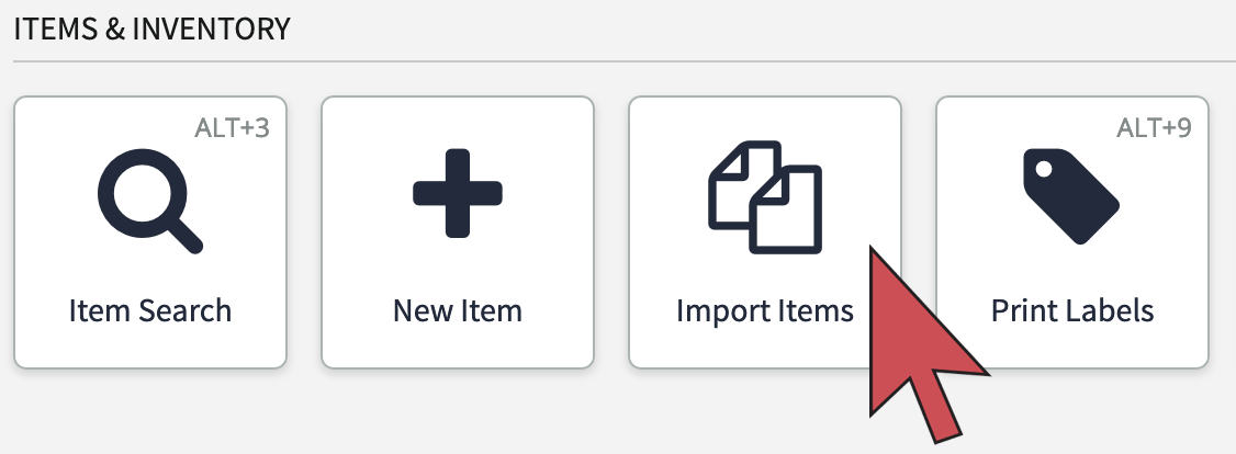 Shows an arrow pointing to the Import Items button.
