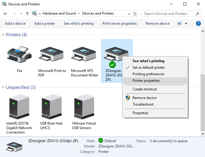 Changing your Zebra ZD410 printer driver on Windows