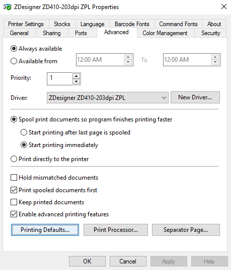 Setting up the Zebra ZD410 on a computer for custom label printing